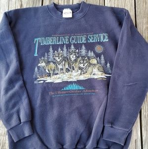 Vintage Wolf Pack Big Graphic Crewneck Sweater XL
